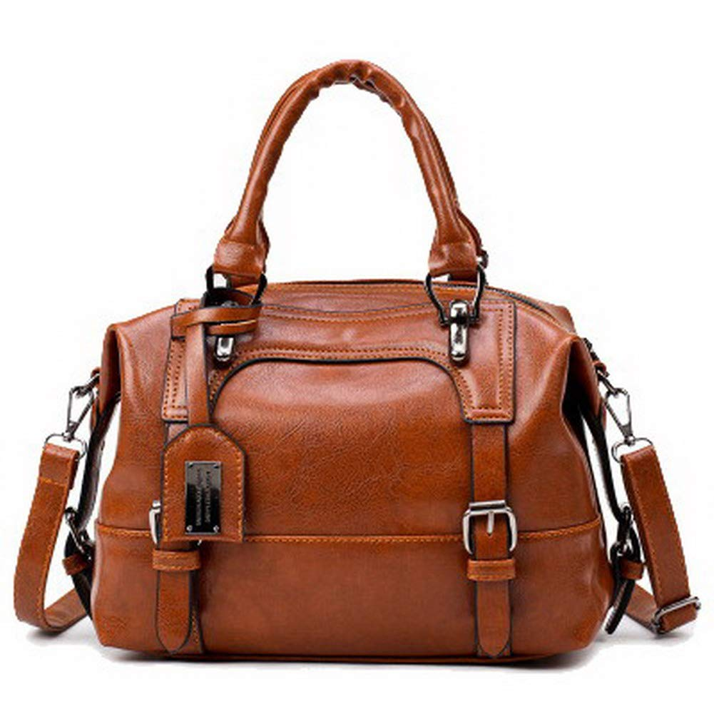 Lightbrown AmoonyFashion Women's Casual Tote Bags Pu Zippers Crossbody Bags,BUTBS221897