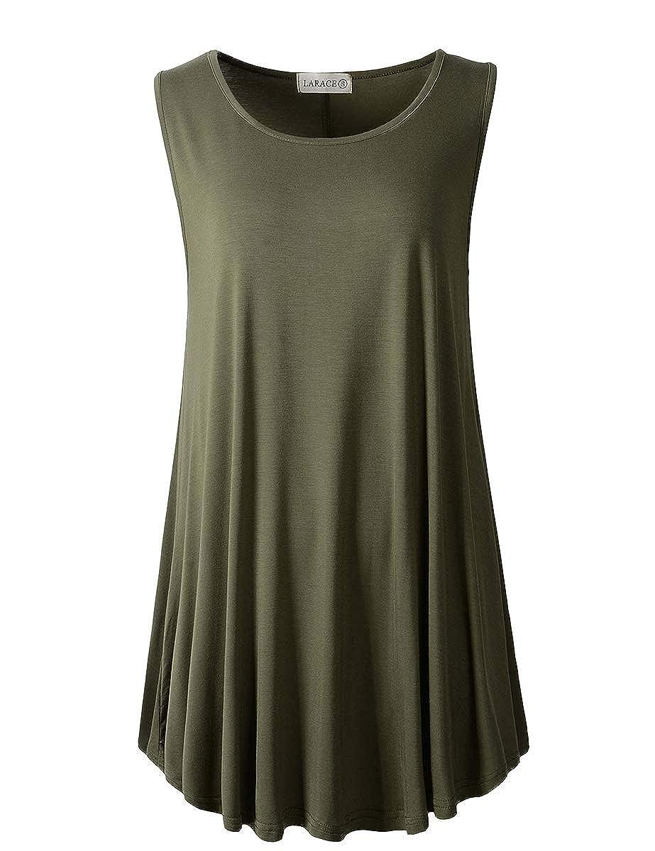 f1c8f3b8 LARACE Women Solid Sleeveless Tunic for Leggings Swing Flare Tank Tops at  Amazon Women's Clothing store: