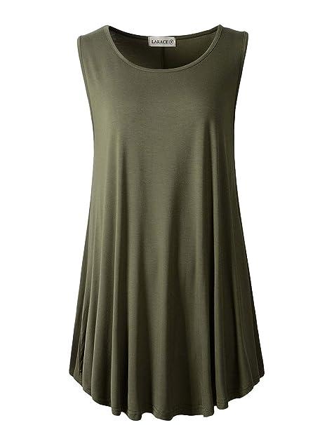 2f1343fb LARACE Women Solid Sleeveless Tunic for Leggings Swing Flare Tank Tops (S,  Army Green