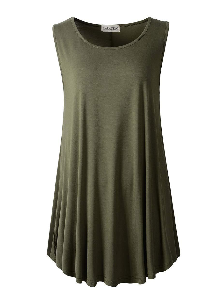 LARACE Women Solid Sleeveless Tunic for Leggings Swing Flare Tank Tops