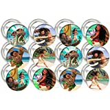 "Moana Theme Party Favors Supplies Decorations Collectible Metal Pinback Buttons, Large 2.25"" -12 pcs"