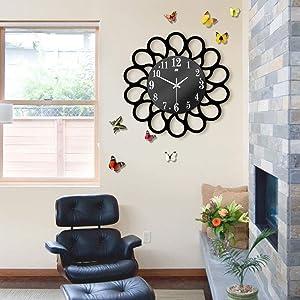 Mihaojianbing Modern Art Deco Home Quartz Wall Clock Simple Garden Wall Clock Creative Living Room Silent Clock Unique