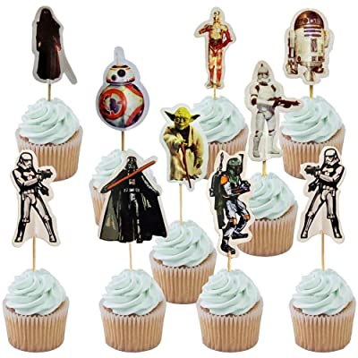 Star Wars Cupcake Toppers Party Cake Toppers 48PCS, Star Wars Happy Birthday Party Supplies Cake Decorations for fans Star Wars Theme Party, Kids Birthday Party: Toys & Games