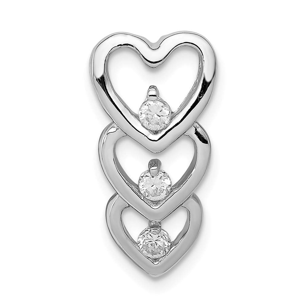 Sterling Silver CZ MulHearts Slide Pendant Solid 10 20 Pendants /& Charms Jewelry