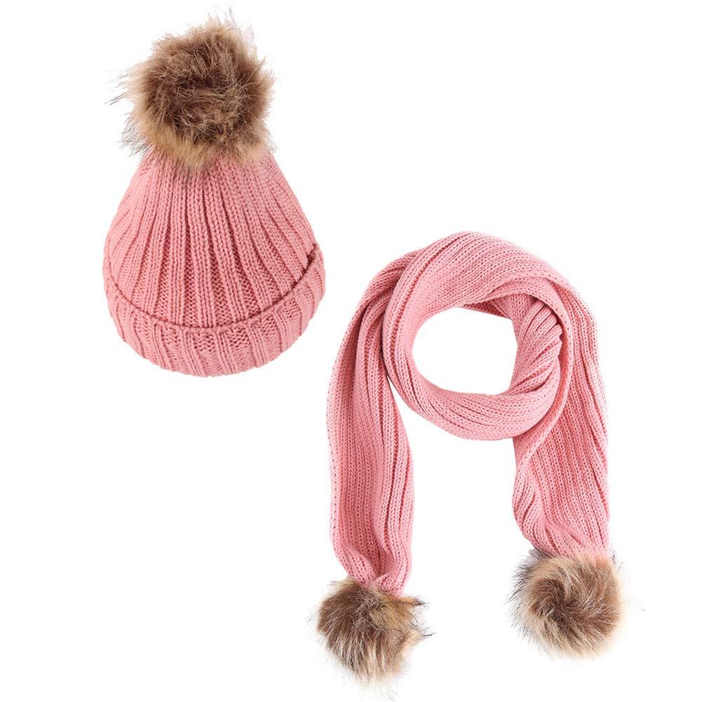 2pcs Chapeau Foulard Set Balles cheveux Pompons Knitting Hat Set bébé d'hiver Foulard chaud Bonnet Bonnet en maille pour 2-10 Ans Beige