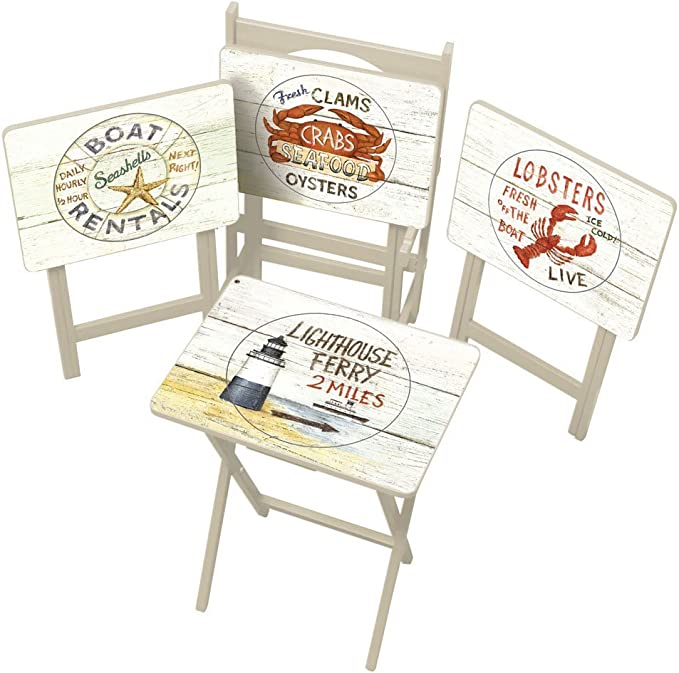 Cape Craftsman Nautical Tv Trays With Stand Set Of 4 Furniture Decor