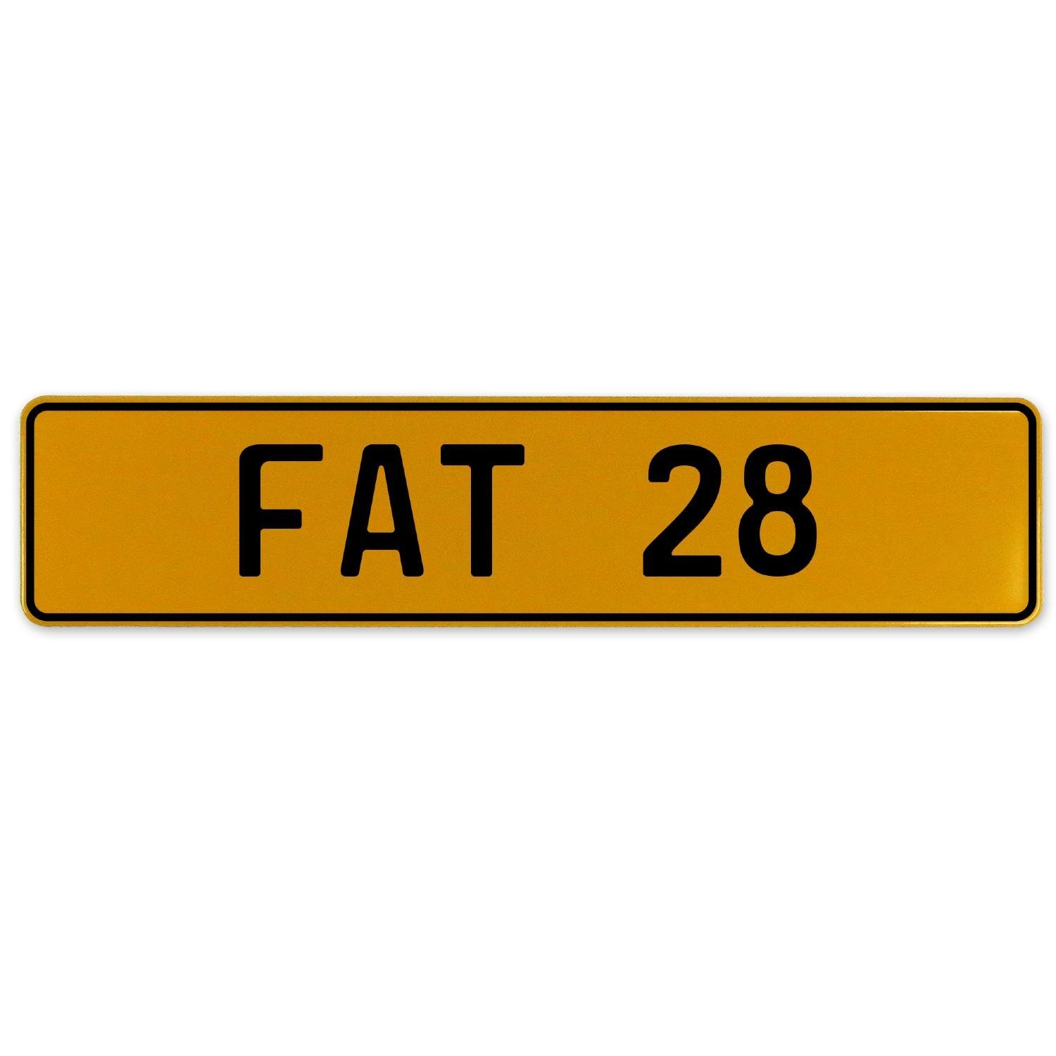Fat 28 Vintage Parts 559575 Yellow Stamped Aluminum European Plate