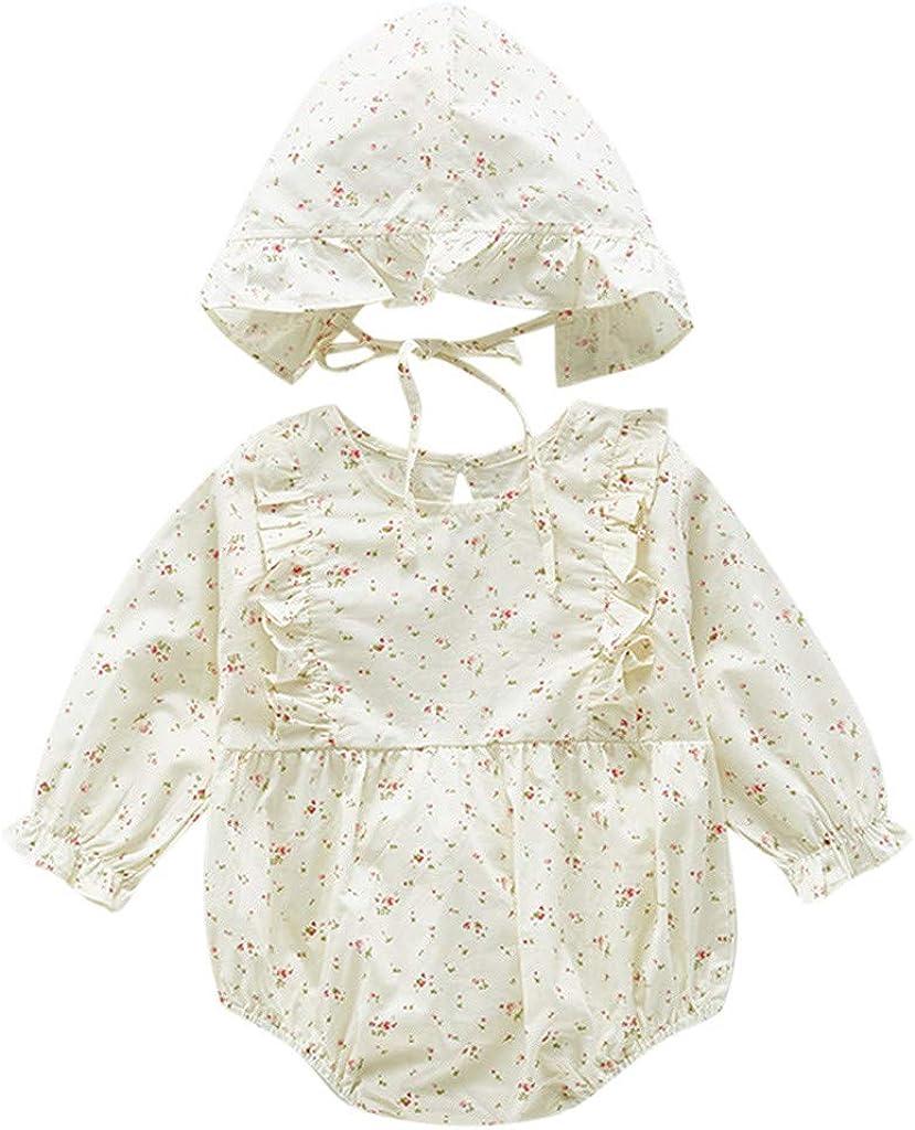 Culater/_tutina Neonato Bello Pigiama di Cotone Tuta Floreale con Volant A Maniche Lunghe per Bambina Infantile Cappello Set da 2 Pezzi