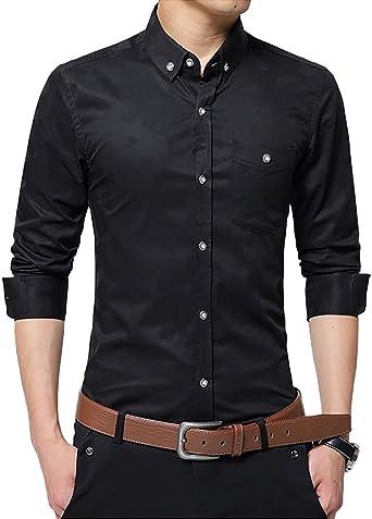 Domple Mens Regular Fit Checkered Casual Lapel Neck Long Sleeve Button Up Dress Work Shirt