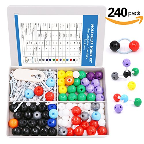 Swpeet 240 Pcs Molecular Model Kit for Organic and Inorganic Chemistry, Chemistry Molecular Model Student and Teacher Set – 86 Atoms & 153 Bonds & 1 Short Link Remover Tool