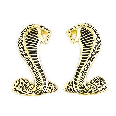 CARRUN 2Pc 3D Cobra Snake Emblem Fender Emblem Fender Sticker premium Shelby Logo Car Decal For Mustang GT500 (Black wit Gold outline): Automotive