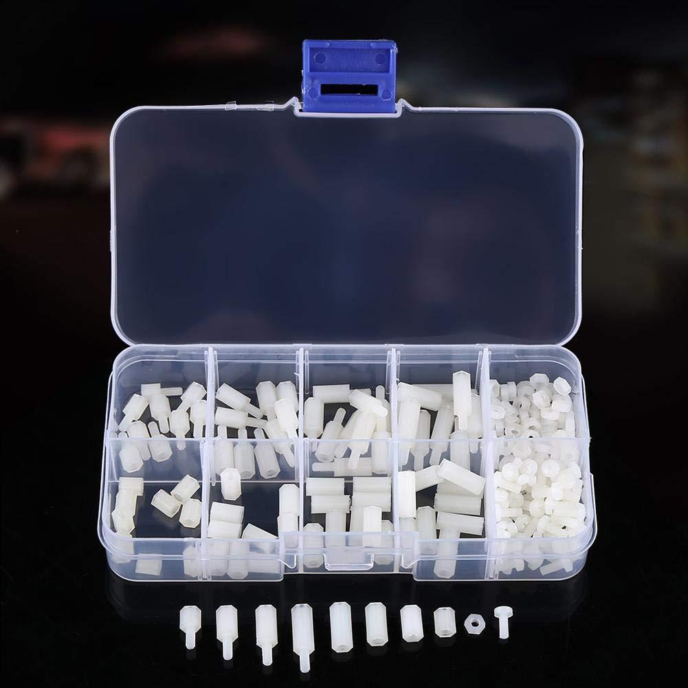 Hex Standoffs 200Pcs M2.5 Nylon Male Female Hex Standoff Bolts Nuts Assortment Set with Storage Box