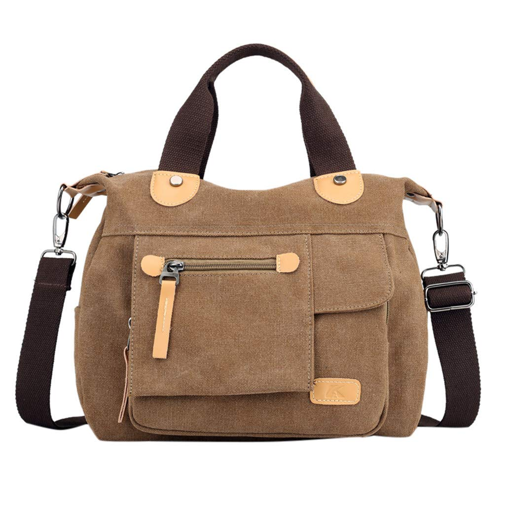 Dermanony Woemns Canvas Shoulder Bag Fashion Multi-Function Large Capacity Handbag Shoulder Bag Travel Bag Coffee by Dermanony _Bags