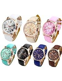 Fashion Womens Analog Quartz Wristwatches PU Leather Band Rose Gold/Gold Tone (Pack of 7)