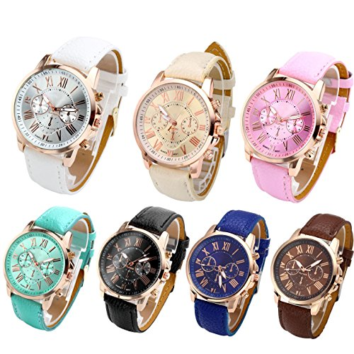 Top Plaza Fashion Womens Analog Quartz Wristwatches PU Leather Band Rose Gold/Gold Tone (Pack of 7) from Top Plaza