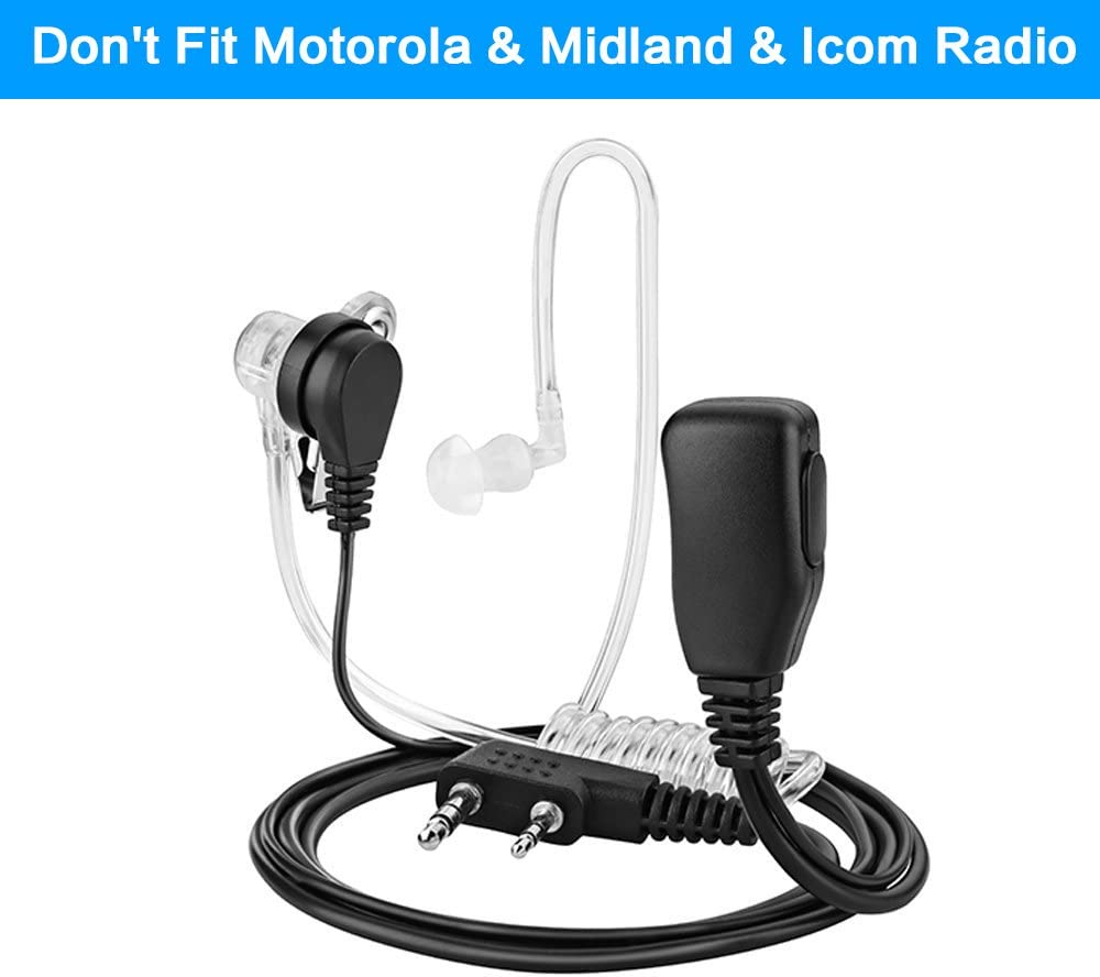 TOMSENN 2-Pin Covert Acoustic Tube Walkie Talkie Earpiece – Two Way Radio Earpiece with a PTT Mic - Compatible with Walkie Talkie Headset Brands (Kenwood, Puxing, Wouxun, Baofeng) – Pack of 2
