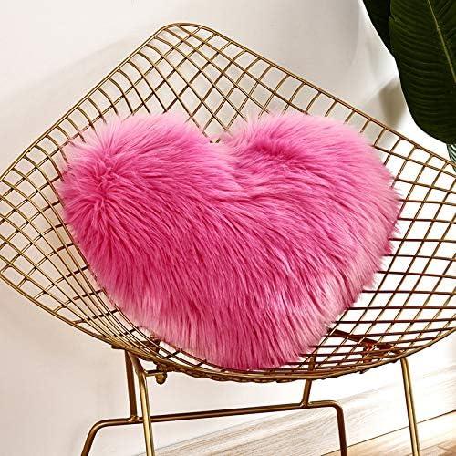 Funda de cojín con cierre de cremallera, diseño de corazón, rojo rosado
