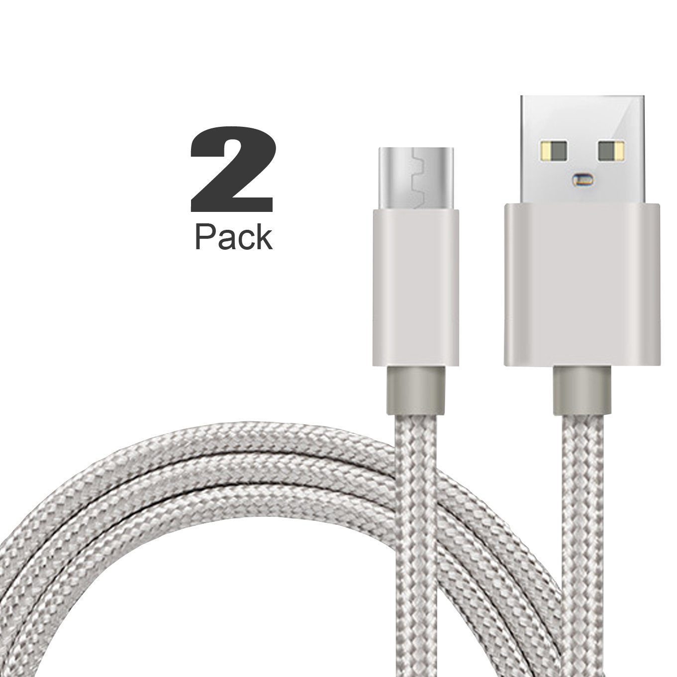 [2Pack]Micro-USB Cable,iBarbe Nylon Braided 5FT for Amazon Kindle Fire Tablets,HD,Fire HD 8 10,HDX 8.9'' Paperwhite Voyage Oasis Reader Tap Playstation 4 Xbox One,WiFi 3G USB Data Sync Cable-Silver