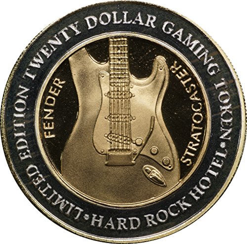 1999 (ND) Hard Rock $20 Silver Casino Strike, Fender Stratocaster w/ 24k HGE, Limited Edition