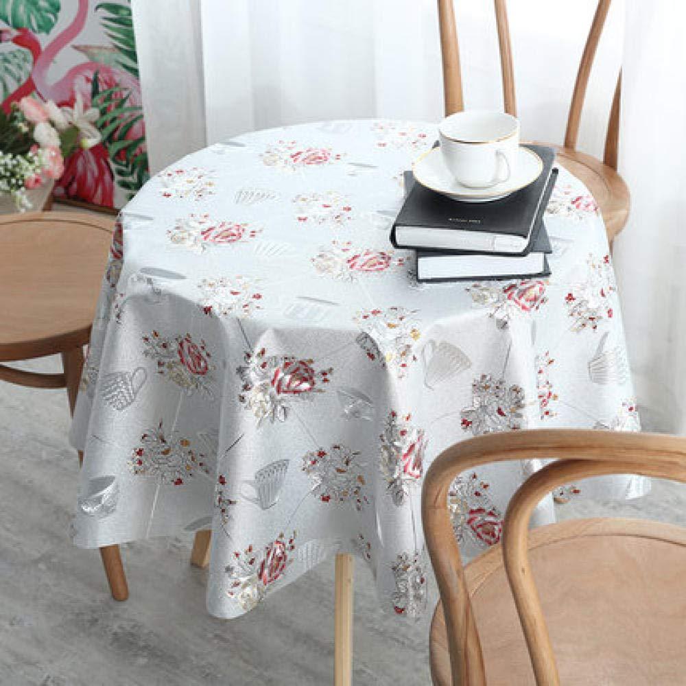 WJJYTX Plastiktischdecken abwischbar, rund Modern/Protector Textilrücken Green-160_B