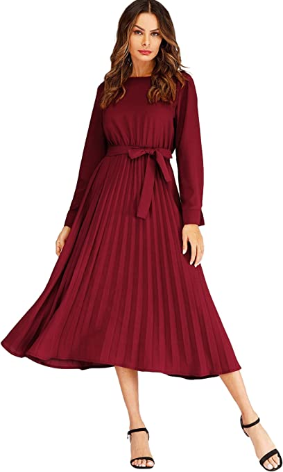 the long pleated dress