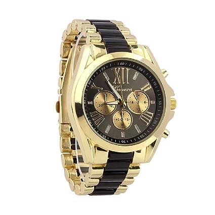 Xinantime Relojes Hombre,Xinan Cuarzo Acero Inoxidable del Reloj Análogo Clásico de Lujo (Negro)