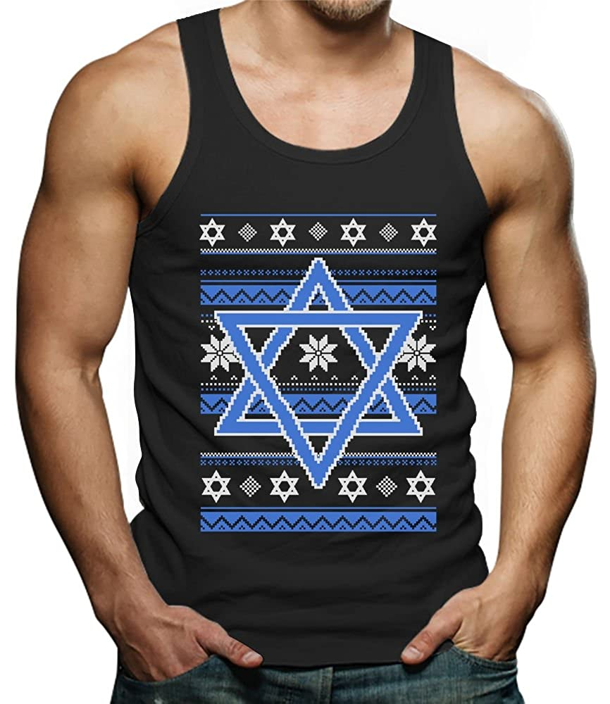 TeeStars Happy Hanukkah Ugly Holiday Sweater Star of David Singlet