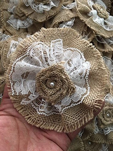 Handmade Burlap Roses Flowers with Lace DIY (Pack of 10)
