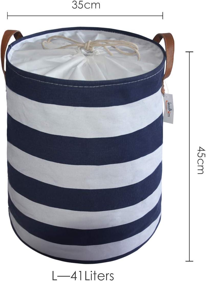 Leadhom Panier /à linge pliable avec poign/ées Panier /à linge en coton /étanche Panier de rangement 41 L//35 x 35 x 45 cm Blanc//Bleu L x l x h
