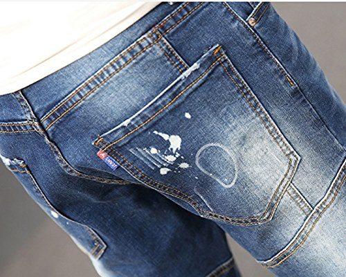 Strappati Distrutto Jeans Uomo Elasticizzati Straight Slim Skinny Aspicture Pantaloni Denim Fit Pantalone d5q4Z4w