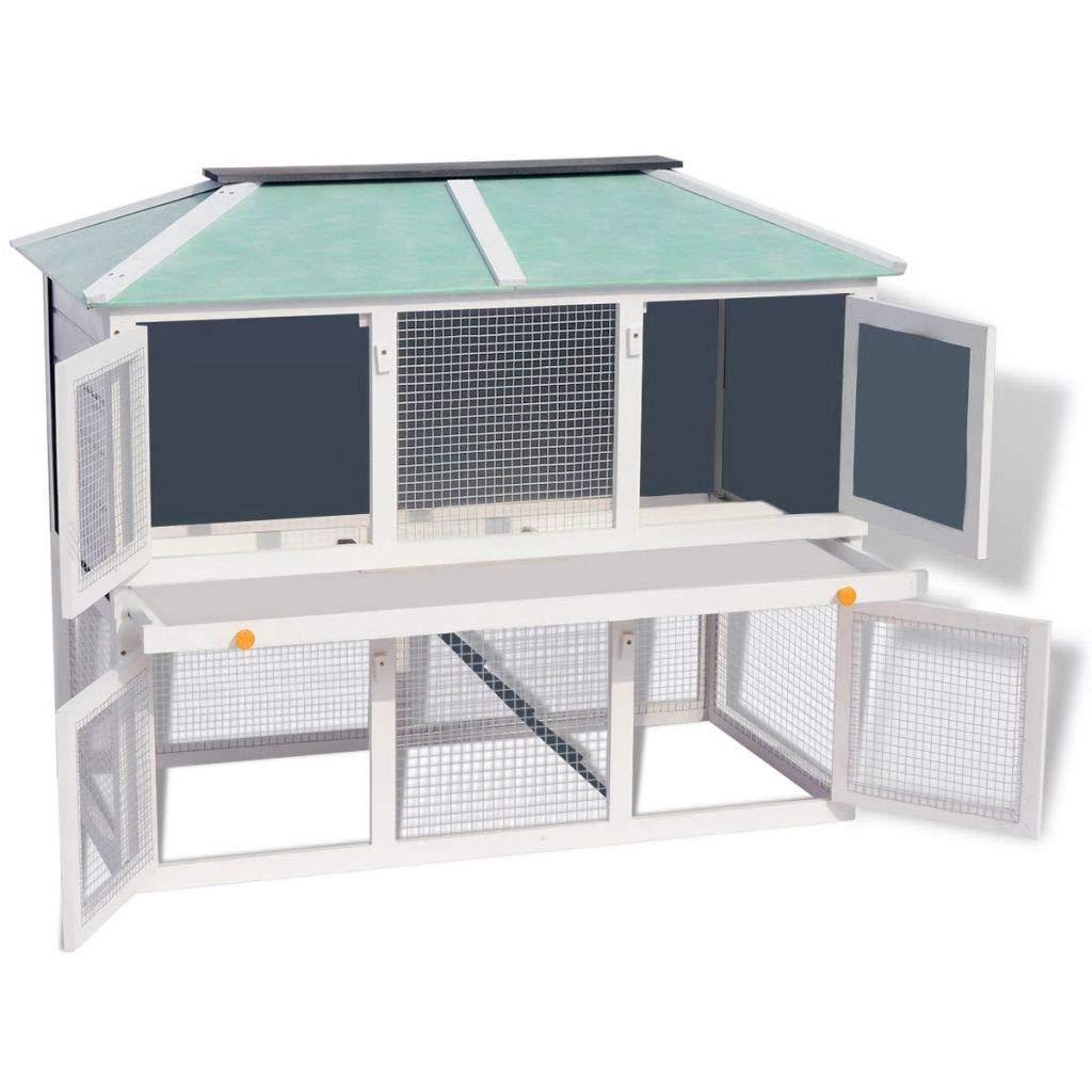 Tidyard Animal Rabbit Cage Outdoor Two-Storey Rabbit Hutch Wooden Bunny Cage Double Floor Wood 130 x 68 x 105 cm