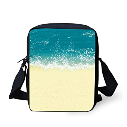 54a98b1bfb0f Amazon.com: WEKJNskeee Beach Seawater and Sand Custom Crossbody ...
