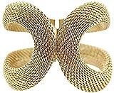 Chico, Women's Stylish Wide Bangle Gold Plated Bracelet Fashion Cuff BR40