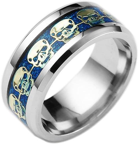 Kebaner Mens Womens 316L Gold Stainless Steel Skull Rings Band Great Gift Size 7-14 Gold//Black//Silver