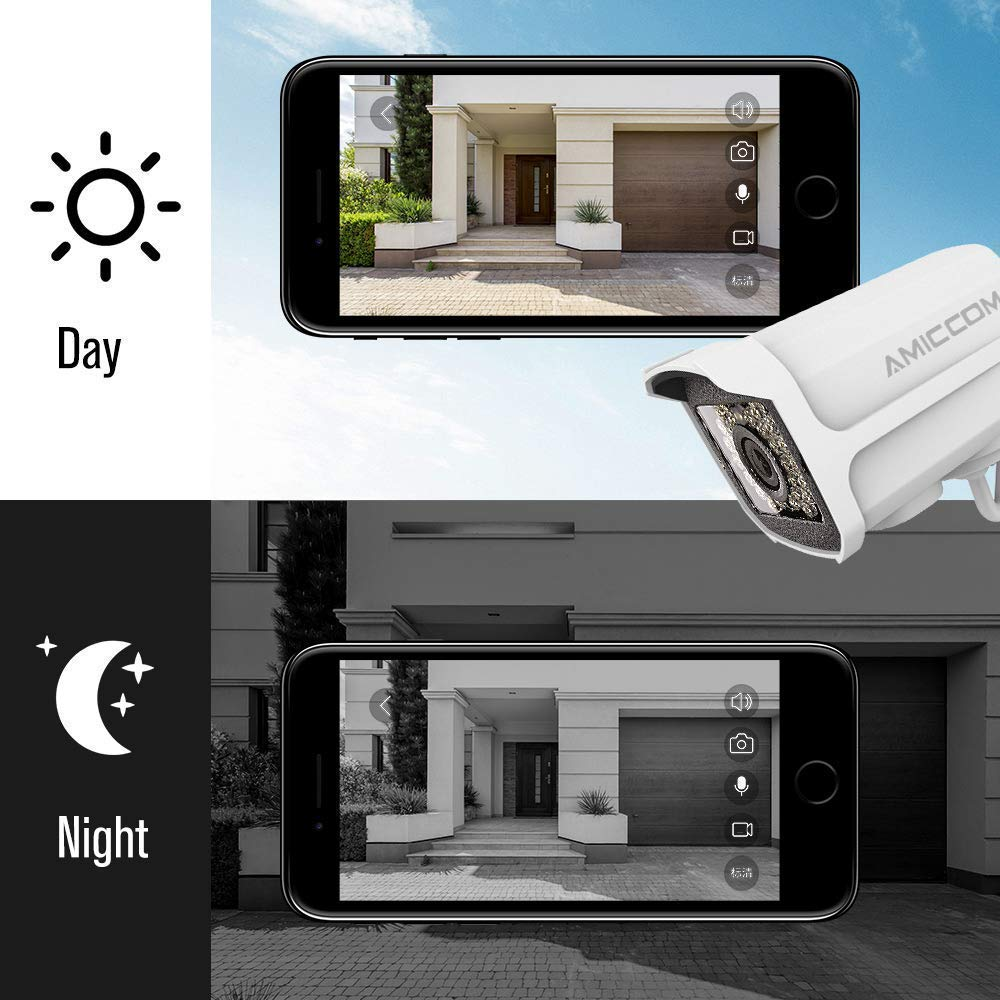 Outdoor WiFi Security Camera- 1080P HD Video Surveillance System - WiFi, Waterproof, IP Night Vision Outdoor Camera with 2-Way Audio and iOS, Android Compatibility (02) by AMICCOM (Image #4)
