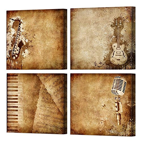 VVOVV Wall Decor Music Canvas Wall Art,Giclee Prints Vintage Saxophone,Electric Guitar,Piano Music Notes,Microphone Poster Modern Musical Instrument Picture Painting (Vintage Music Pictures)