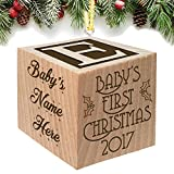 Baby's First Christmas Ornament 2018 - Keepsake Personalized Baby Block Custom Engraved Wooden for Newborn Infant Boy, Girl, Mom, Dad, Grandparent 2017 2018 1st gift Date by Glitzby