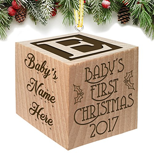 Baby's First Christmas Ornament 2017 - Keepsake Personalized Baby Block Custom Engraved Wooden for Newborn Infant Boy, Girl, Mom, Dad, Grandparent 2016 2018 1st gift Date by - Personalized Babys Ornament First Christmas