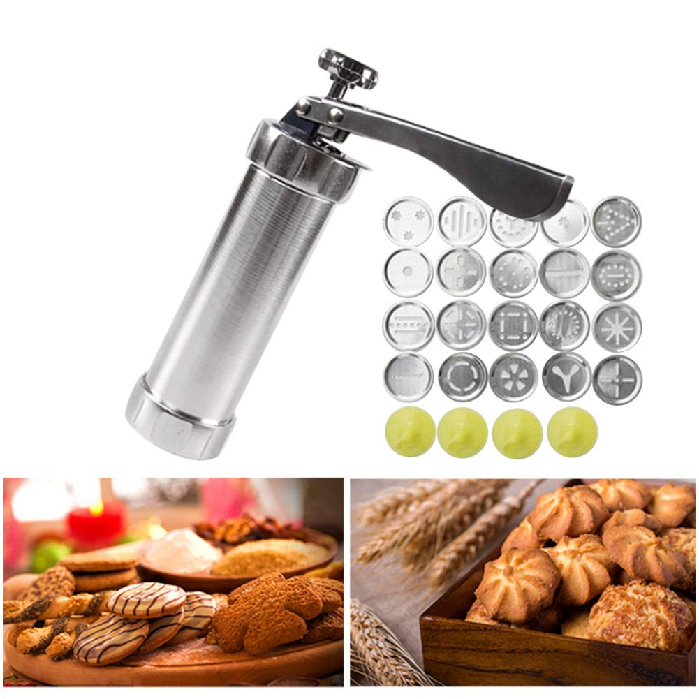 LYOOLY Cookie Press Biscuit Maker Cookie Presses Cheese Dessert Spritz Cookies Press with 20 Disks and Icing Tips, Comfort Grip Cake Decorator Gun Kit by LYOOLY (Image #2)