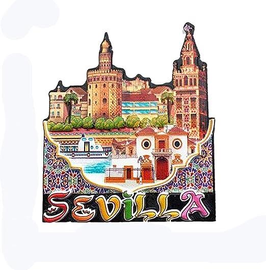 Sevilla España Imán para nevera 3D Regalo de recuerdo de viaje, Decoración para el hogar y la cocina Etiqueta magnética Sevilla Refrigerator Magnet Collection: Amazon.es: Hogar