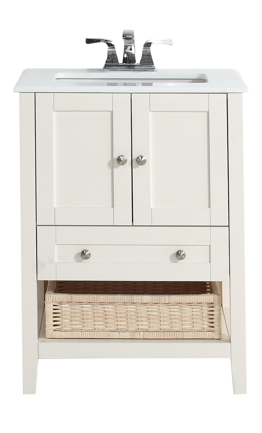 "Simpli Home 4AXCVCCW-24 Cape Cod 24 inch Contemporary Bath Vanity in Soft White with White Engineered Quartz Marble Top - Single sink bathroom vanity with two doors, one bottom drawer and open storage area with basket, hardwood frame and legs Vanity color: Off White with Brushed Nickel knobs Overall Vanity Size with Top: 25"" w x 21.5"" d x 34.5"" h - bathroom-vanities, bathroom-fixtures-hardware, bathroom - 61jOdjbTztL -"