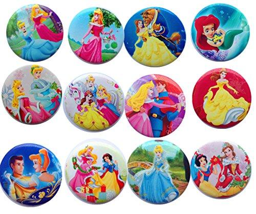 Princess 1 1/4 Inch Badge Button Pin Pinback Button Set,12-pcs