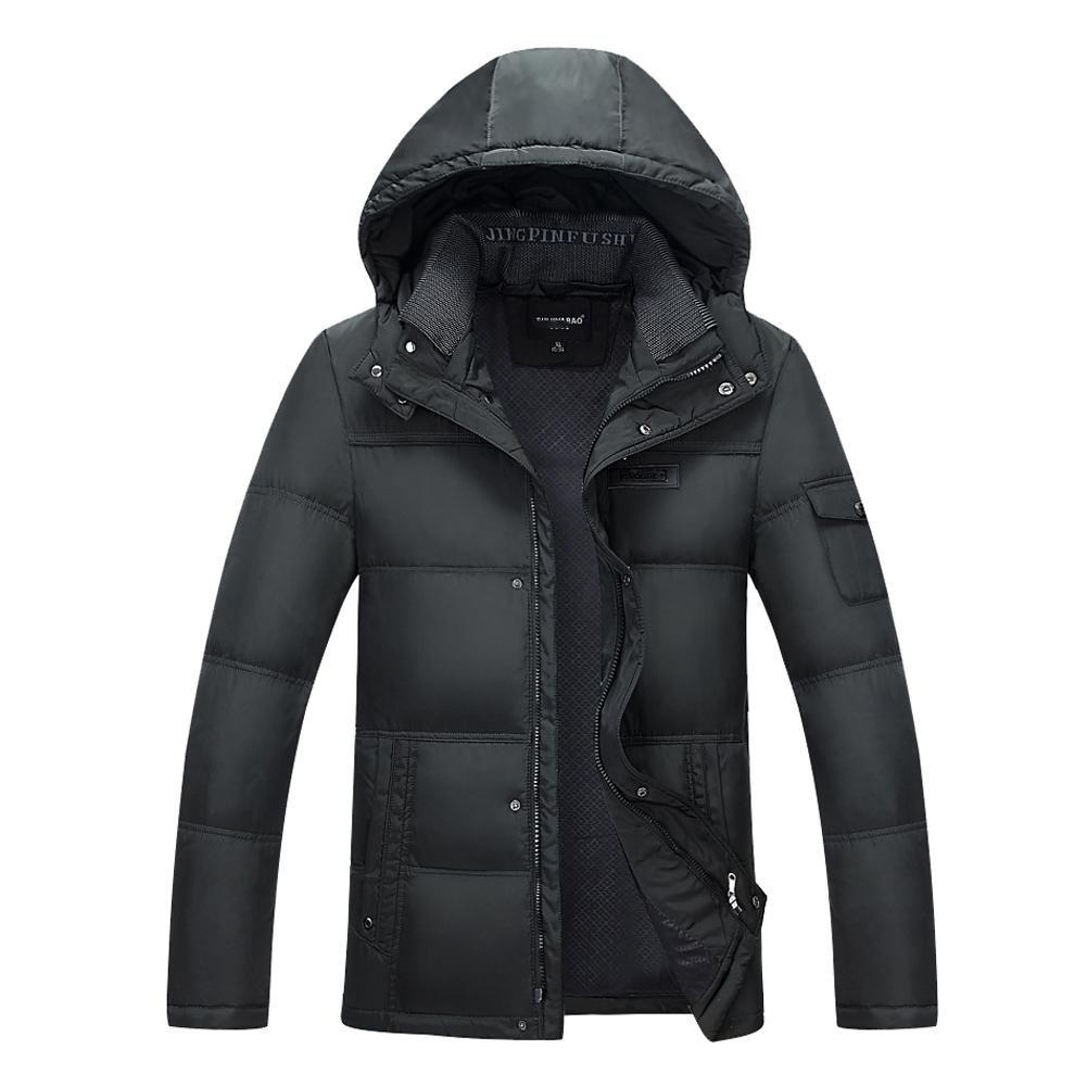 Wgwioo Down jacket männer nieder Jacke herausnehmbar mit Kapuze reißverschluss Winddicht Dicker Parka größe l-XXXXXL