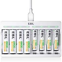 EBL acculader met 4 x AA 2800 mAh en 4 x AAA 1100 mAh accu's USB-ingang acculader snel acculader voor AA/AAA Ni-Mh…