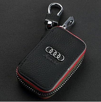 Amazoncom Amooca Black Audi Premium Leather Car Key Chain Coin - Audi keychain