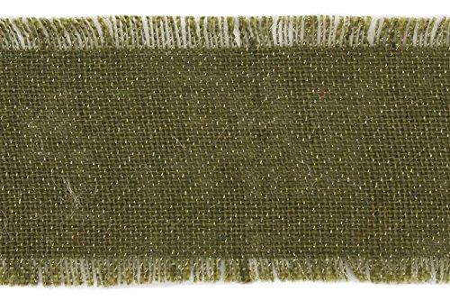 Burlap Ribbon with Gold Metallic Thread, 4