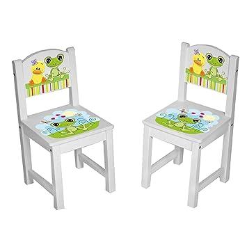 Kinder Stühle Tisch Kindersitzgruppe massiv Holz Frosch & Ente ...