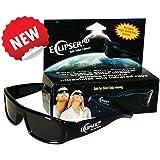 Eclipser HD Safe Solar Plastic Viewer, CE Certified, 3D Plastic Glasses w Black Frame