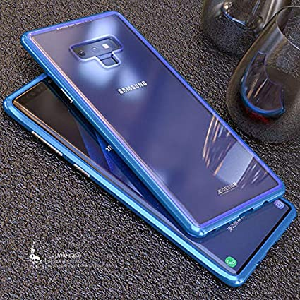 XuBa for Samsang Note 9 Magnetic Adsorption Metal Bumper Tempered Glass Clear Cover Case Black