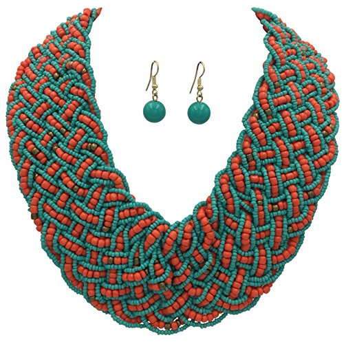Gypsy Jewels Wide Braided Seed Bead Multi Strand Statement Necklace & Earrings Set (Aqua Blue & Coral Red)